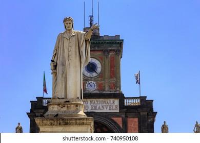 Statue Of Dante Alighieri, Piazza Dante, Naples, Italy
