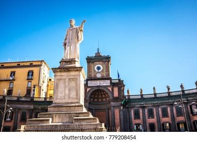 Statue of Dante Alighieri in Piazza Dante. Naples, Italy.