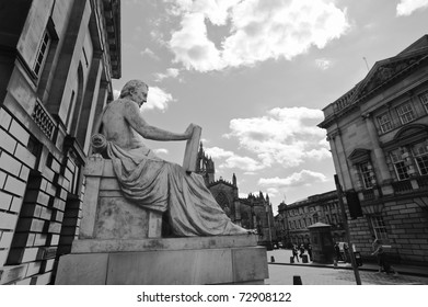 A A statue of David Hume near St Giles cathedral church in Edinburgh