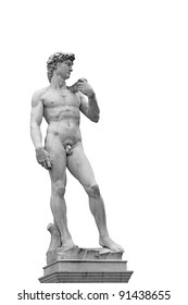 Statue of David isolated on white. Copy of original in Florence, Italy