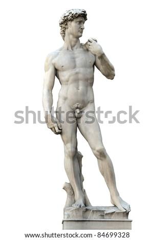 Statue of David isolated on white. Copy of Michelanegelo's original. Firenze, Italy
