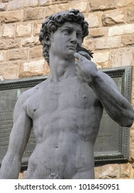 Statue of David Michelangelo with a dove in hand, Florence, Italy