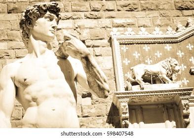 Statue of David in Piazza della Signoria in Florence, Italy