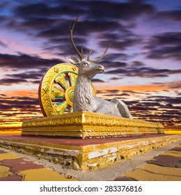 Statue of Deer and Dharma Wheel