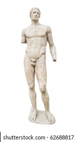 Statue in Delphi museum, Greece - isolated on white background