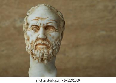 Statue of Demokritus,ancient greek philosopher.