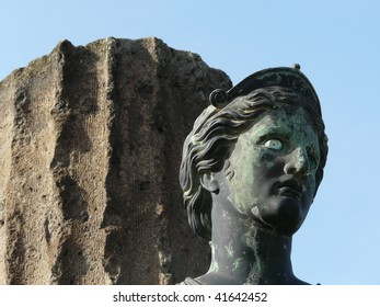 Statue of Diana and a column at the ancient Roman city of Pompeii, which was destroyed and buried by ash during the eruption of Mount Vesuvius in 79 AD