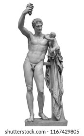 Statue of Dionysus or Bacchus with bunch of grapes isolated on white