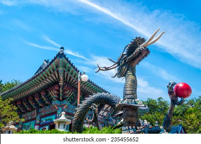A statue of a dragon at Haedong Yonggungsa Temple in Busan, South Korea.