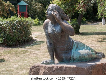 Statue of Echo with the shouting girl by  Lake Balaton, on Tihany peninsula, Hungary, Europe. The statue marks the spot where the famous echo is the best.