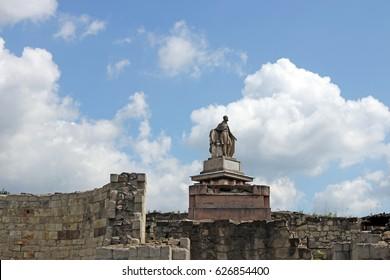 Statue Eger fort landmark Hungary
