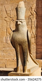 Statue of Egyptian god Horus, found in Edfu temple