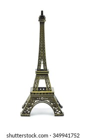 Statue of eiffel tower isolated on white background, clipping part