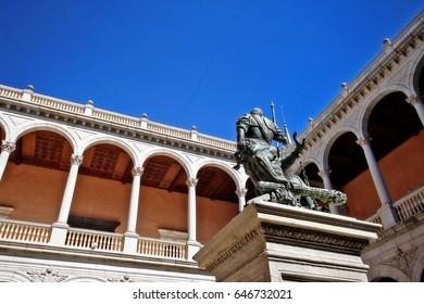 Statue of the Emperor Carlos V. (El emperador Carlos V y el Furor) in patio of Alcazar of Toledo (Alcazar de Toledo), Toledo, Castile-La Mancha, Spain