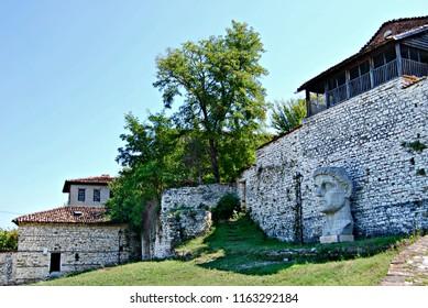Statue of emperor Constantine in the fortress of Berat city