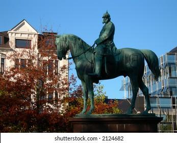 Statue of Emperor Wilhelm I. in Kiel in Germany.