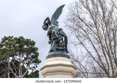 Statue of Fallen Angel on a the fountain in Buen Retiro Park also called simply El Retiro in Madrid, capital city of Spain