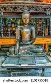 Statue in famous Buddhist Temple in Colombo, Sri Lanka