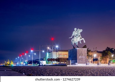 Statue of the famous king Alexander the Great at night, in the harbor of Thessaloniki Greece