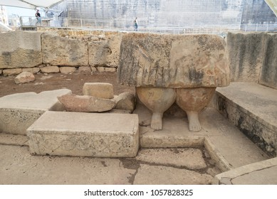 Statue of Fat Lady at Tarxien temple complex - Megalithic Temple. Malta. 8 March, 2018