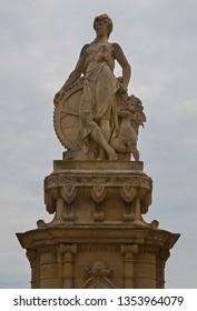 Statue of a female figure in Ciutadella park, Barcelona, Spain