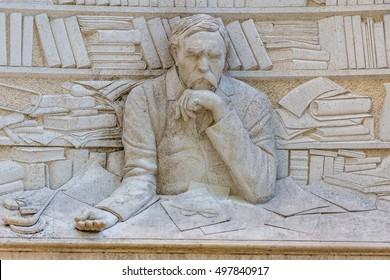 Statue of Ferenc Deak, Hungarian poet, is located at promenade of Balatonfured town, resort area of Balaton lake, 06 may 2016,Balatonfured, Hungary
