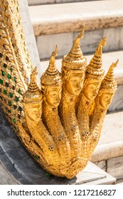 Statue with the five Buddhas at the Grand Palace of Bangkok. Kingdom of Thailand. South East Asia.