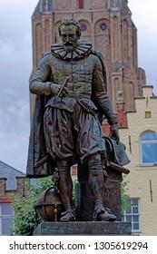Statue of Flemish mathematician Simon Stevin, medieval Bruges, Belgium