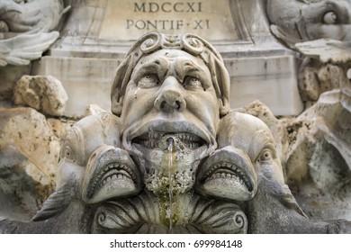 A statue of the Fontana del Pantheon in the Piazza della Rotonda, Rome, Italy
