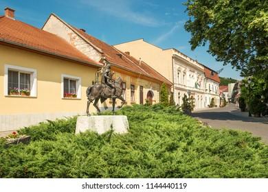 Statue of Francis Rakoczi II on the Rakoczi Street in Tokaj town, famous wine growing region of Hungary