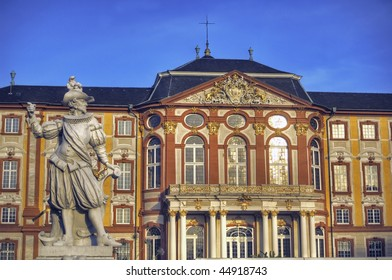 Statue in front of the famous baroque palace in Bruchsal, Germany