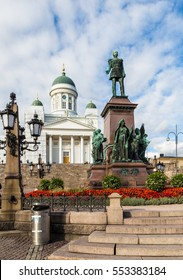 Statue in front of the Helsinki cathedral in the old town in Finland capital city.