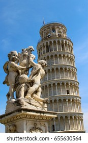 Statue in front of the Leaning Tower of Pisa in Italy, Europe