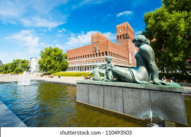Statue in front of the Oslo city hall. Norway