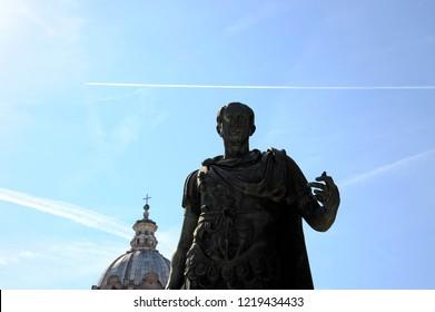 Statue of Gaius Julius Caesar at the imperial forums of ROME. Gaius Julius Caesar was a Roman politician and military general. Rome, Italy