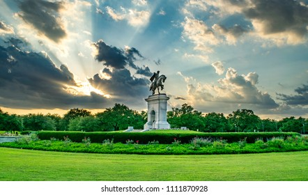 Statue and Garden in Houston at Sunset - Houston, Texas, USA