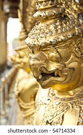 The statue garuda fairy tale animal of thai buddhist in the temple wall at wat prakeaw temple in bangkok, Thailand