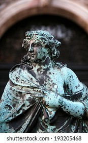 Statue in the gate of the bell tower in St. Mark's Square, Venice