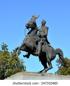 Statue of General Andrew Jackson on horseback against blue sky and trees.