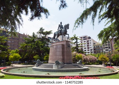 Statue of General Espartero in the city of Logrono, La Rioja, Spain. On a sunny day.