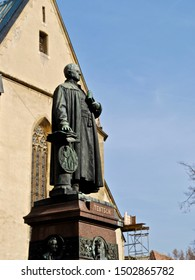 Statue of Georg Daniel Teutsch, a Transylvanian historian and Lutheran bishop from the 1800s. Near the Evangelic Church in Sibiu, Romania stands the statue of Teutsch, by sculptor Adolf von Donndorf.