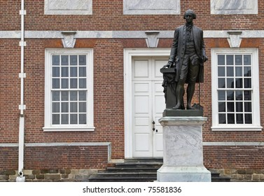 The statue of George Washington, first president of the United States outside of Independence Hall in Philadelphia.