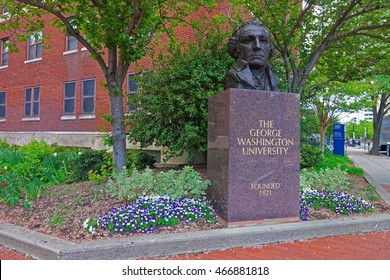 Statue of George Washington is located in his university in Washington D.C., USA. It was established on February 9, 1821. It is a private research and the largest university in Washington D.C.
