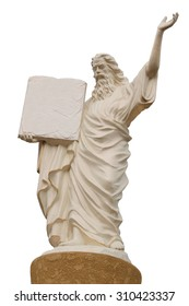 Statue of God with a book in their hands against on a white isolate