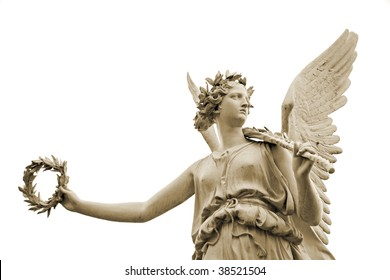 Statue of the goddes Nike, isolated on white background