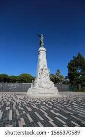 Statue of goddess Nike La Ville de Nice a la France in Nice, France