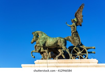 Statue of goddess Victoria on Monument of Vittorio Emanuele II in Rome, Italy.