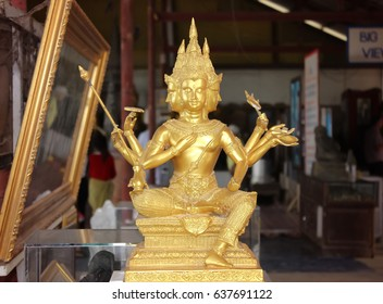 Statue of golden bhudda in public temple, Thailand