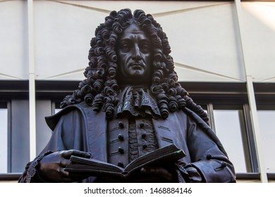 the statue of Gottfried Wilhelm Leibniz in Leipzig University. He was a prominent German polymath and one of the most important logicians, mathematicians and natural philosophers of the Enlightenment.