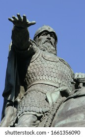 Statue of Grand Duke Yuri Dolgoruky, the mythical founder of Moscow, vertical fragment